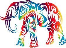 Yeti cup size 3.5'' x 4'' Tie Dyed Elephant  Sticker Decal