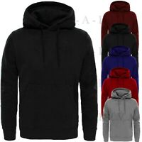 Mens Gents Plain PULLOVER HOODIE Fleece Sweater Jumper Sweatshirt Boys Hood Top