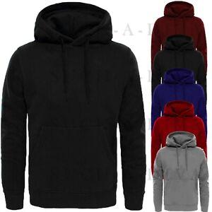 Mens Gents Plain PULLOVER HOODIE Fleece Sweater Jumper Sweatshirt Boys Hood Top