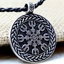 Tono Plata Antigua Cordón Trenzado Viking Timón de Awe Colgante Collar