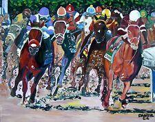 HORSE RACING Kentucky Derby NYQUIST Original Art PAINTING DAN BYL Huge 4ft x 5ft
