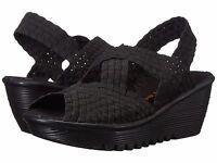 Women's Shoes Bernie Mev. Brighten Casual Woven Open Toe Wedge Black *New*