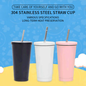 500ML Tumbler with Lid and Straw Stainless Steel Coffee Tumbler Cup Drinking Mug