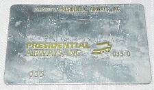 Rare Vintage Presidential Airways Metal Ticket Validation Plate Travel Agency