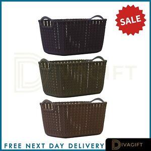 Laundry Basket Clothes Washing Storage Hamper Rattan Style Plastic Basket