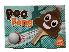 Poo Pong Table Tennis Kit 2 Paddles Ball & Net Novelty Game Gift Set