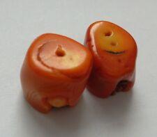 2 cuentas de coral de sucursales, Naranja. 10 mm de fabricación de joyas/abalorios