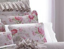 "Lenox Vintage Floral 18"" Decorative Pillow Distress Purple Shabby Chic Rose Pink"