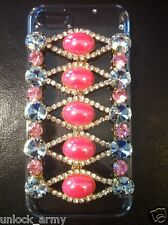 3D The Eyes Pink Swarovski Crystal Bling Case Handmade iPhone 5 5S Hard Cover