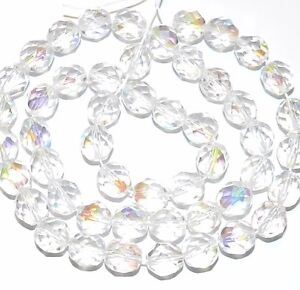 """CZ4108 Crystal AB 8mm Fire-Polished Faceted Round Czech Glass Beads 16"""""""