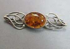 Sterling silver amber pin brooch