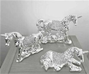 Crushed Crystal Diamond Set 3 Piece Bling Unicorn Horses Home Decor Ornaments
