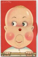 Mechanical humor baby child open mouse move eyes original old 1950s postcard