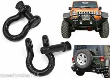 "2 Pack Heavy Duty Black 3/4"" D-Ring Shackles 4.75 Ton (9,500 Lbs) Capacity New"