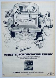 ZZ TOP 1977 vintage POSTER ADVERT ARRESTED FOT DRIVING WHILE BLIND