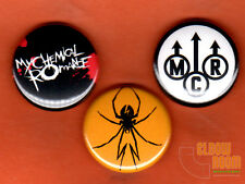 "Set of three 1"" My Chemical Romance pins buttons rock band punk alternative MCR"