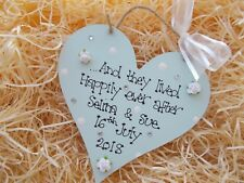 Happily Ever After Wedding Heart Hanger Gift Keepsake Any Colour