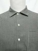 Ralph Lauren Corbridge Black White Houndstooth Long Sleeve Shirt Mens Medium