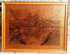 Framed Pen And Ink Drawing On Board - Lewes Rowing Club On Ouse - Signed