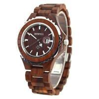 BEWELL Business Men's Date Dial Wood Wrist Watch Casual Quartz Analog Wristwatch