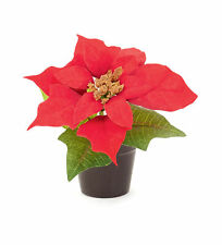 3 x Red Poinsettia Pots Christmas Table Decoration Christmas Standing Decoration