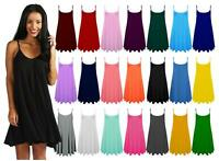 Womens Flared Cami Skater Ladies Camisole Strappy Vest Top Swing Mini Dress 8-26