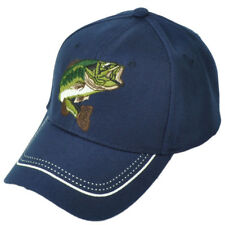 Large Mouth Bass Fishing Fish Hat Cap Navy Adjustable Outdoor Camping Sports