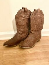 Rampage Women's Size 7 Boots Vikki Cowboy Boots Cowgirl Western Boots Brown