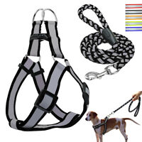Reflective Step-in Dog Harness Lead Set Quick Fit Puppy Vest for French Bulldog