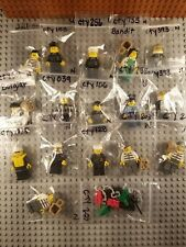 Lot of 16 LEGO Cops Robbers Minifigures Town Jail City w/accessory FREE SHIPPING