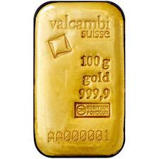 100 Gram Valcambi Cast Gold Bar (New w/ Assay)