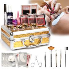 Pro 17in1 False Eyelash Extension Makeup Kit Set with Gold Case Salon Tool NEW