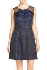 NEW Aidan Mattox  Women's  Black/Blue Jacquard Fit and Flare Cocktail Dress Sz 6