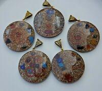 "Orgone Chakra Healing 1.5"" Round Pendant 7 Chakra Stones Necklace Pendant"