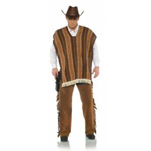 MEXICAN BANDITO ADULT WESTERN COWBOY COSTUME PONCHO SERAPE BLANET SHAWL BROWN