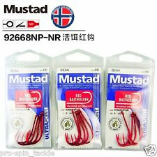 Bulk 3 Pack Mustad Red Baitholder Size 4/0 Chemically Sharpened Hooks 92668NPNR