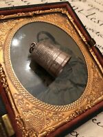 Antique Victorian Chatelaine Sterling Silver Thimble Size 11 With Bale