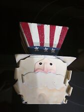 Kohls Patriot Colors Curly Bearded Christmas / 4th July Uncle Sam Ornament Tin