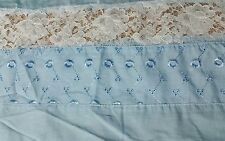 """BLUE EYELET & WHITE FLORAL LACE STRIPS COTTON SKIRT FABRIC BY THE YD 44"""" W"""