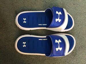 Under Armor Adjustable Slides, Blue, Sz 8