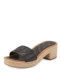 Tory Burch Fleming Black Quilted Leather Slide Espadrille Sandal Mule Size 5.5