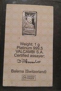 Credit Suisse 1 Gram Platinum Liberty Bullion Bar Brand New Sealed 999.5 Fine