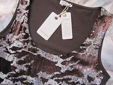 Henry Cotton's Glitzer Top Gr.M/42 5% Elastane Shirt Pailetten Braun edel !! NEU