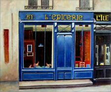Quality Hand Painted Oil Painting, Storefront in Blue 20x24in