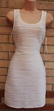 MIM WHITE RUCHED WRINKLE BODYCON BANDAGE PENCIL TUBE PARTY RARE DRESS 10 S