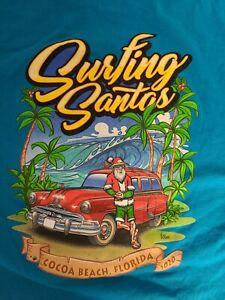 2020 Surfing Santas Cocoa Beach Graphic T-Shirt Blue Men's 2XL Cancelled Event