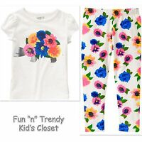 NWT Crazy 8 Girls Size 2T 3T Flower Turtle Tee Shirt Top & Leggings 2-PC OUTFIT