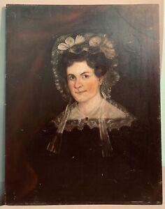 19thC Antique VICTORIAN Era PRIMITIVE Young LADY in BONNET Oil PORTRAIT PAINTING