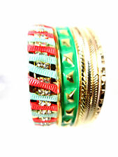 Ladies Bold Bright Golden Red Green Layered Set Of Bangles Unique New (St81)
