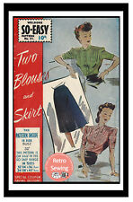 1940s Wartime Blouses and Skirt Sewing Pattern - Reproduction Pattern